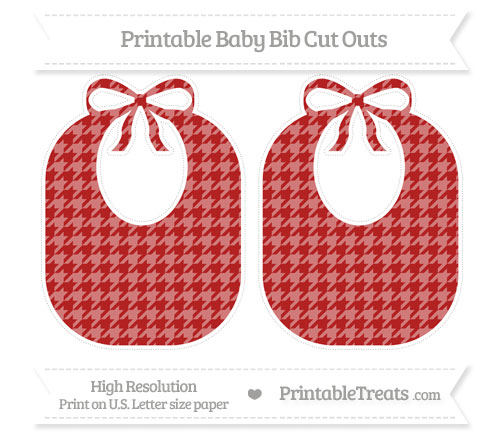 Free Fire Brick Red Houndstooth Pattern Large Baby Bib Cut Outs