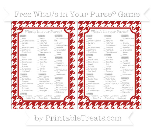 Free Fire Brick Red Houndstooth Pattern What's in Your Purse Baby Shower Game