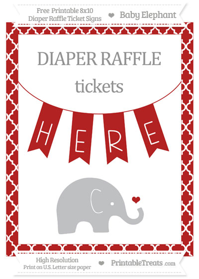 Free Fire Brick Red Moroccan Tile Baby Elephant 8x10 Diaper Raffle Ticket Sign