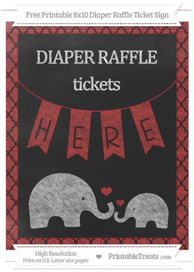 Free Fire Brick Red Moroccan Tile Chalk Style Elephant 8x10 Diaper Raffle Ticket Sign