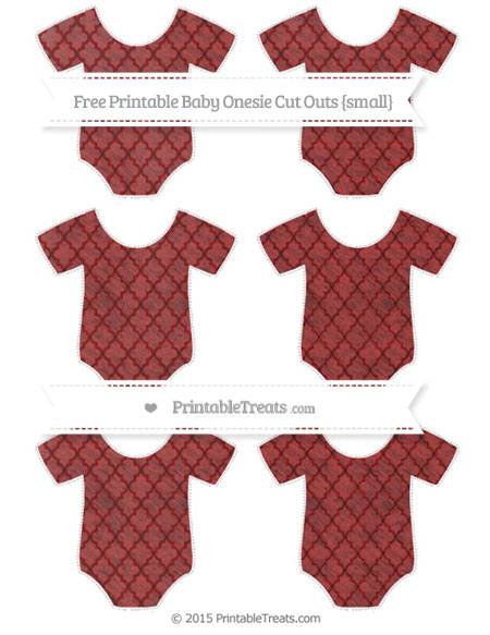 Free Fire Brick Red Moroccan Tile Chalk Style Small Baby Onesie Cut Outs