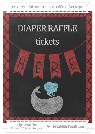 Free Fire Brick Red Moroccan Tile Chalk Style Whale 8x10 Diaper Raffle Ticket Sign