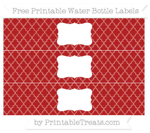 Free Fire Brick Red Moroccan Tile Water Bottle Labels