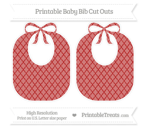 Free Fire Brick Red Moroccan Tile Large Baby Bib Cut Outs