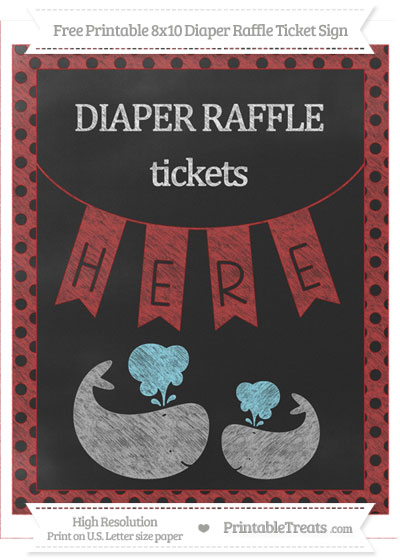Free Fire Brick Red Polka Dot Chalk Style Baby Whale 8x10 Diaper Raffle Ticket Sign