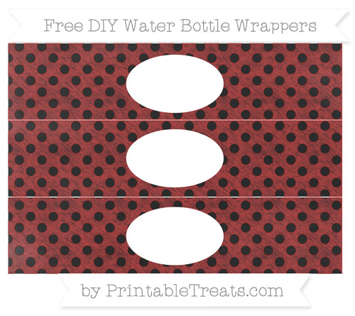 Free Fire Brick Red Polka Dot Chalk Style DIY Water Bottle Wrappers