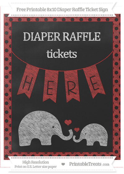 Free Fire Brick Red Polka Dot Chalk Style Elephant 8x10 Diaper Raffle Ticket Sign