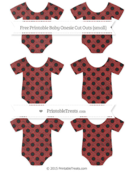 Free Fire Brick Red Polka Dot Chalk Style Small Baby Onesie Cut Outs