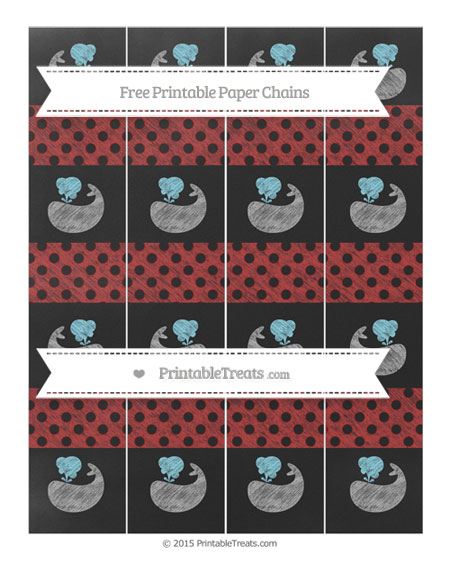 Free Fire Brick Red Polka Dot Chalk Style Whale Paper Chains