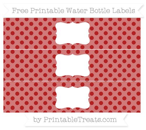 Free Fire Brick Red Polka Dot Water Bottle Labels