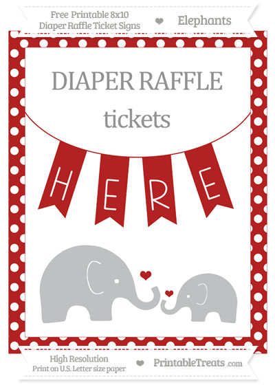 Free Fire Brick Red Polka Dot Elephant 8x10 Diaper Raffle Ticket Sign