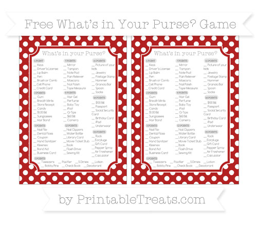 Free Fire Brick Red Polka Dot What's in Your Purse Baby Shower Game