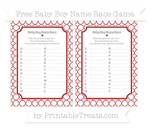 Free Fire Brick Red Quatrefoil Pattern Baby Boy Name Race Game