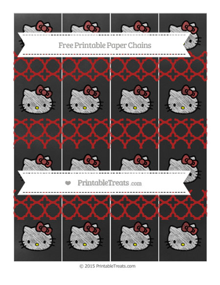 Free Fire Brick Red Quatrefoil Pattern Chalk Style Hello Kitty Paper Chains