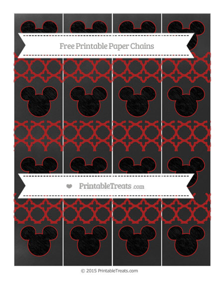 Free Fire Brick Red Quatrefoil Pattern Chalk Style Mickey Mouse Paper Chains