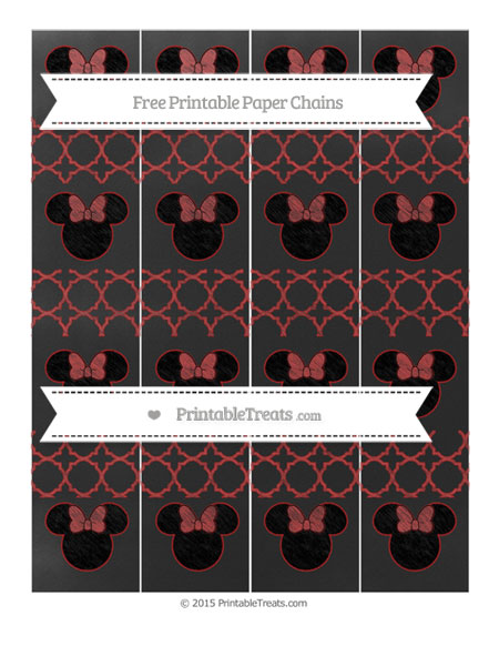 Free Fire Brick Red Quatrefoil Pattern Chalk Style Minnie Mouse Paper Chains