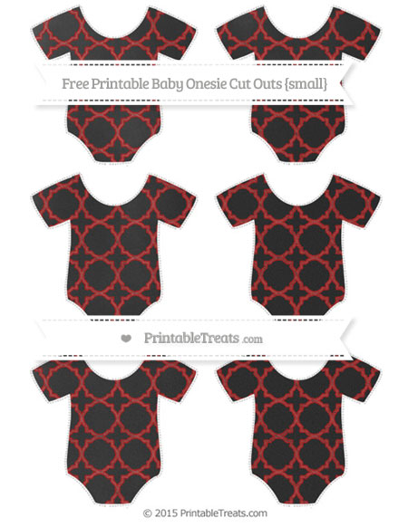Free Fire Brick Red Quatrefoil Pattern Chalk Style Small Baby Onesie Cut Outs