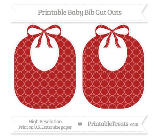 Free Fire Brick Red Quatrefoil Pattern Large Baby Bib Cut Outs