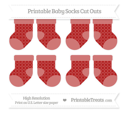 Free Fire Brick Red Quatrefoil Pattern Small Baby Socks Cut Outs