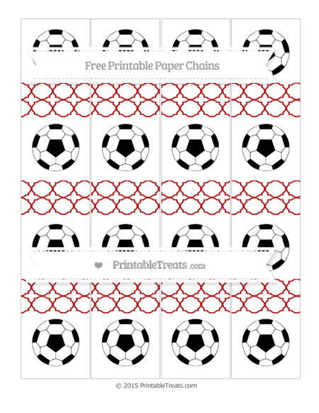 Free Fire Brick Red Quatrefoil Pattern Soccer Paper Chains