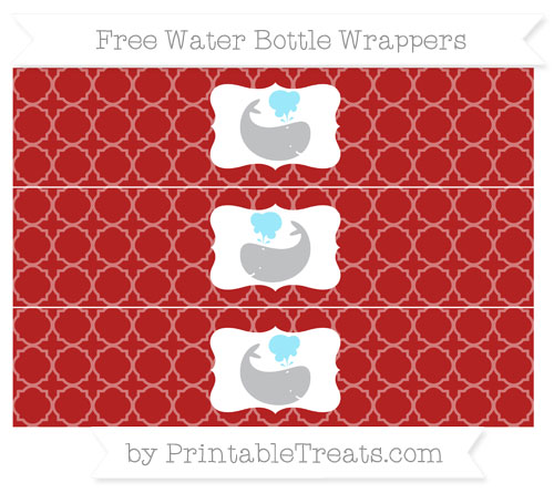 Free Fire Brick Red Quatrefoil Pattern Whale Water Bottle Wrappers