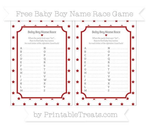 Free Fire Brick Red Star Pattern Baby Boy Name Race Game
