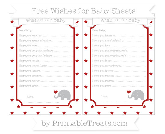 Free Fire Brick Red Star Pattern Baby Elephant Wishes for Baby Sheets
