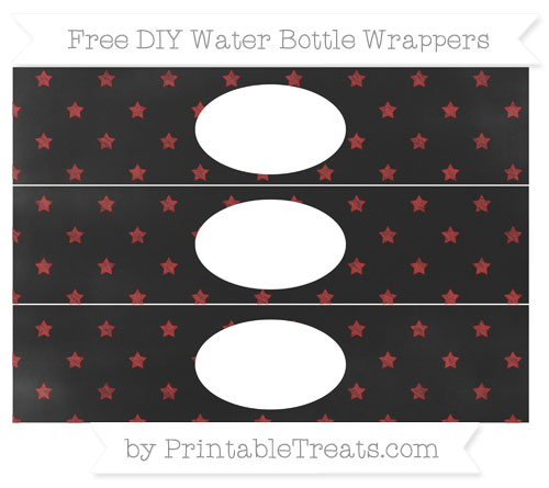Free Fire Brick Red Star Pattern Chalk Style DIY Water Bottle Wrappers