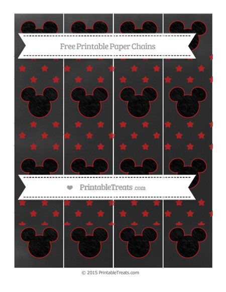 Free Fire Brick Red Star Pattern Chalk Style Mickey Mouse Paper Chains