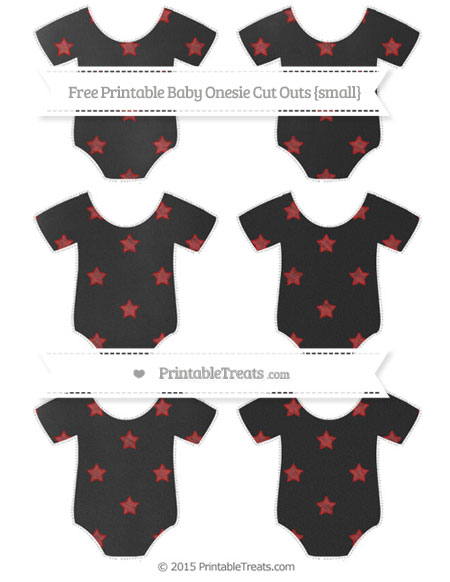 Free Fire Brick Red Star Pattern Chalk Style Small Baby Onesie Cut Outs