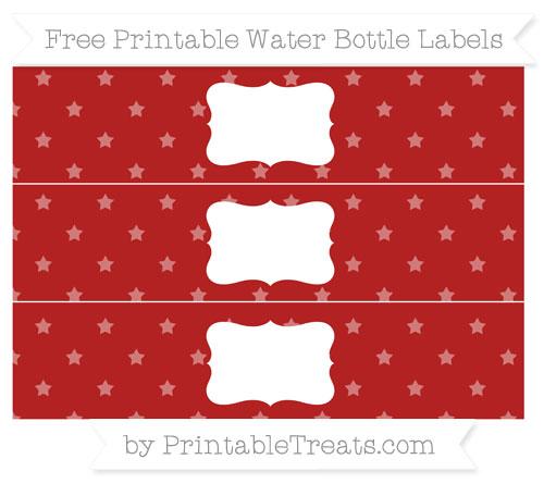 Free Fire Brick Red Star Pattern Water Bottle Labels