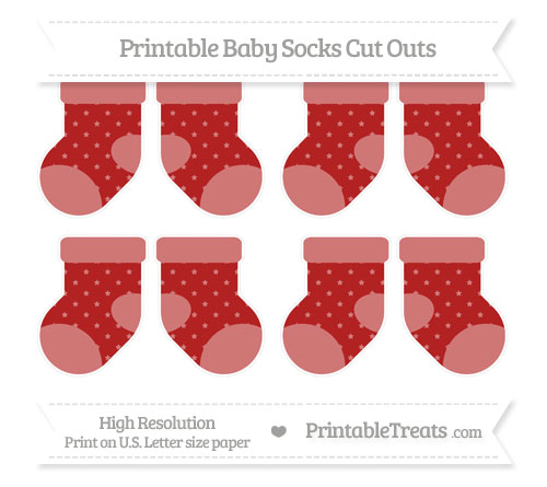 Free Fire Brick Red Star Pattern Small Baby Socks Cut Outs