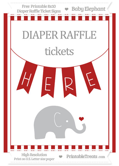 Free Fire Brick Red Striped Baby Elephant 8x10 Diaper Raffle Ticket Sign