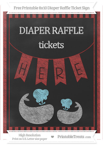 Free Fire Brick Red Striped Chalk Style Baby Whale 8x10 Diaper Raffle Ticket Sign
