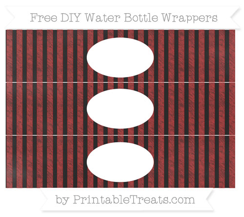 Free Fire Brick Red Striped Chalk Style DIY Water Bottle Wrappers