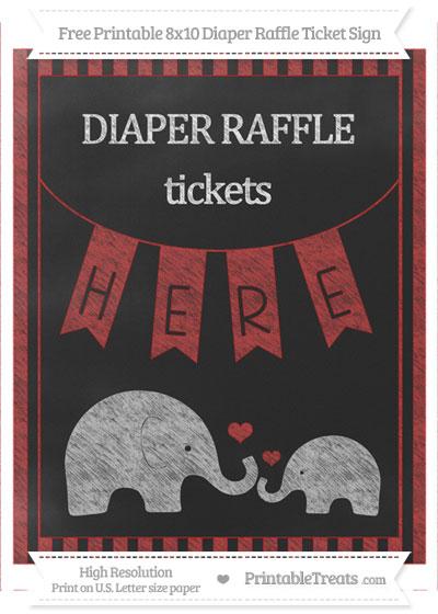 Free Fire Brick Red Striped Chalk Style Elephant 8x10 Diaper Raffle Ticket Sign