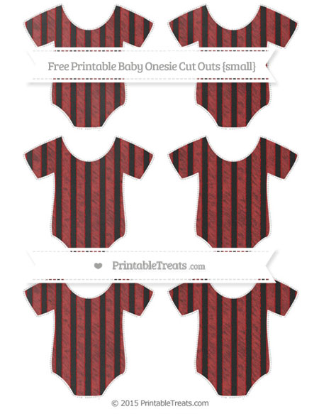 Free Fire Brick Red Striped Chalk Style Small Baby Onesie Cut Outs