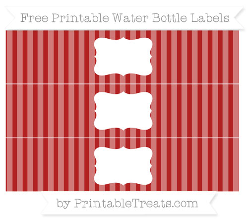 Free Fire Brick Red Striped Water Bottle Labels