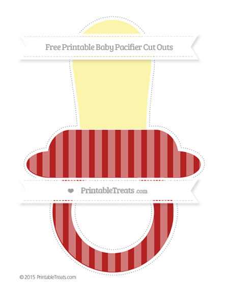 Free Fire Brick Red Striped Extra Large Baby Pacifier Cut Outs