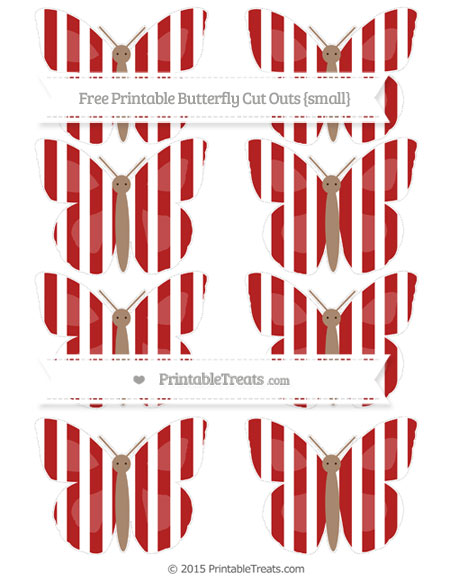 Free Fire Brick Red Striped Small Butterfly Cut Outs