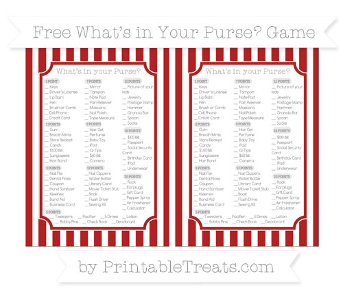 Free Fire Brick Red Striped What's in Your Purse Baby Shower Game