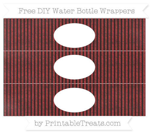 Free Fire Brick Red Thin Striped Pattern Chalk Style DIY Water Bottle Wrappers