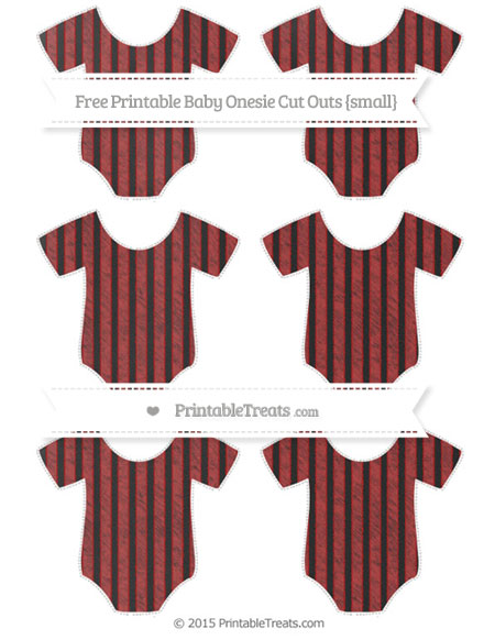 Free Fire Brick Red Thin Striped Pattern Chalk Style Small Baby Onesie Cut Outs
