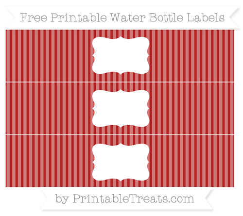 Free Fire Brick Red Thin Striped Pattern Water Bottle Labels