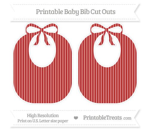 Free Fire Brick Red Thin Striped Pattern Large Baby Bib Cut Outs