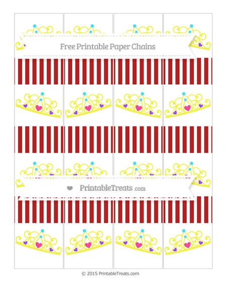 Free Fire Brick Red Thin Striped Pattern Princess Tiara Paper Chains
