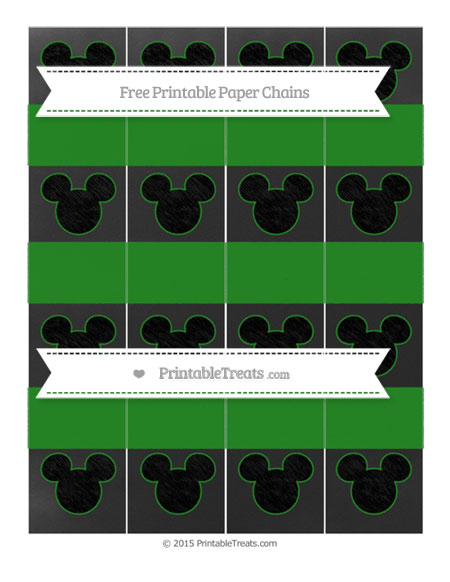 Free Forest Green Chalk Style Mickey Mouse Paper Chains