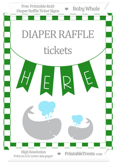 Free Forest Green Checker Pattern Baby Whale 8x10 Diaper Raffle Ticket Sign