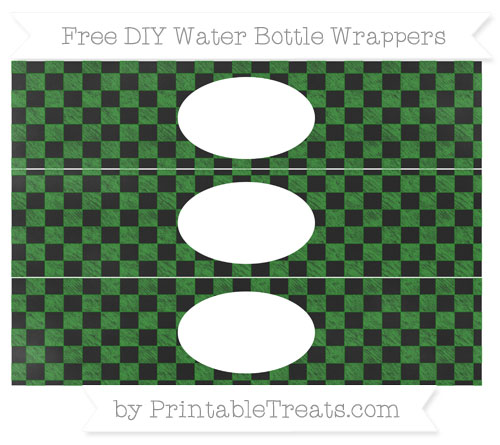 Free Forest Green Checker Pattern Chalk Style DIY Water Bottle Wrappers