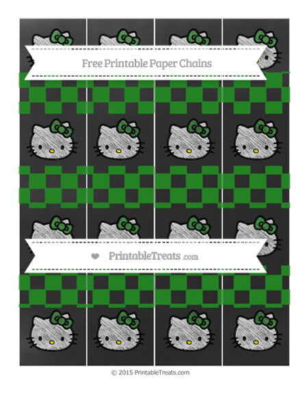 Free Forest Green Checker Pattern Chalk Style Hello Kitty Paper Chains